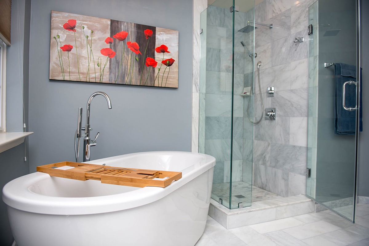 bathroom with free-standing tub and shower space