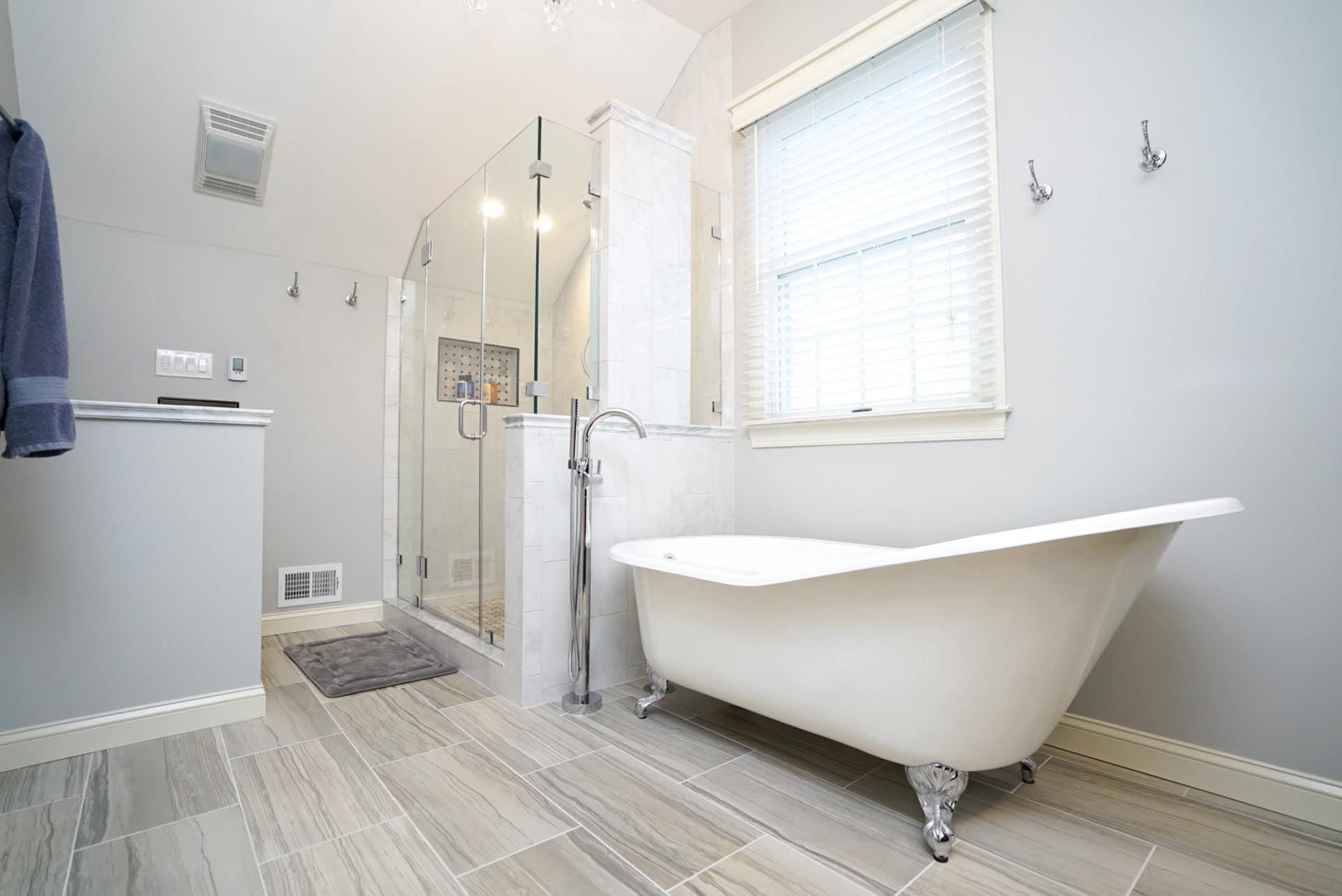 Bathroom remodel with laminate floor