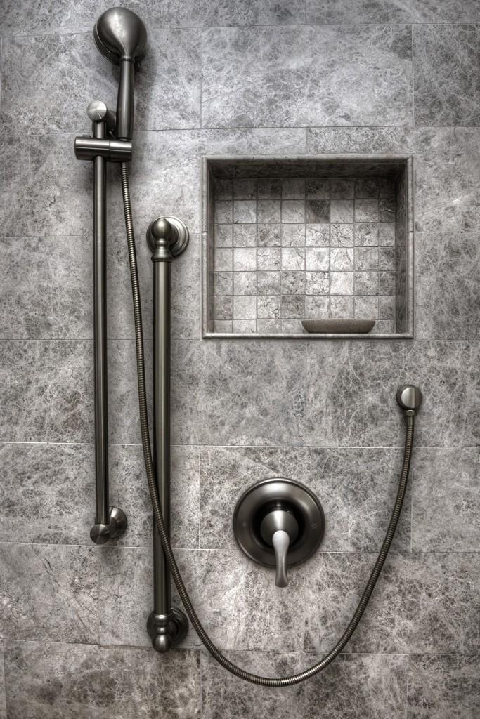 Metallic bathroom shower