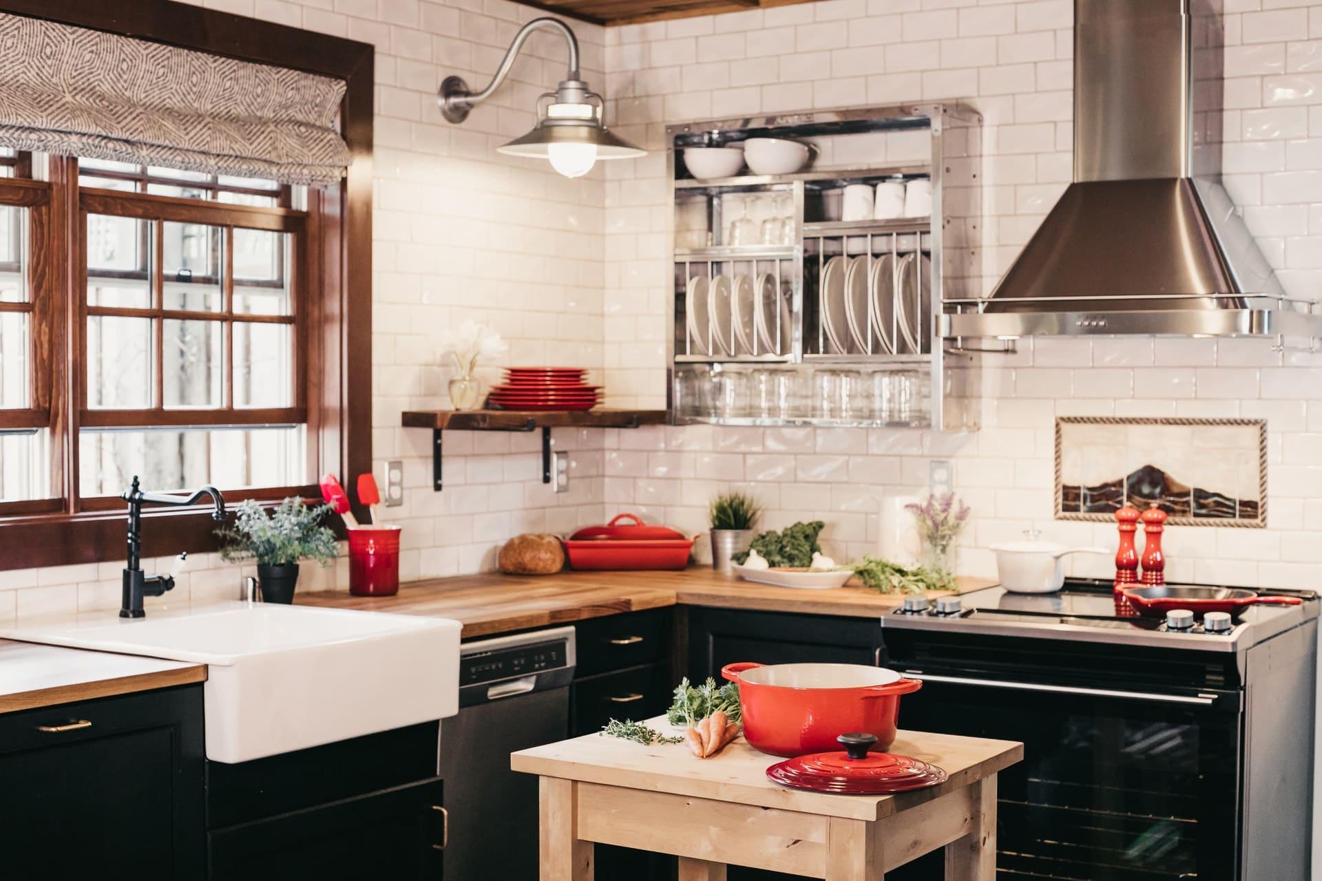 Kitchen cabinets in a kitchen