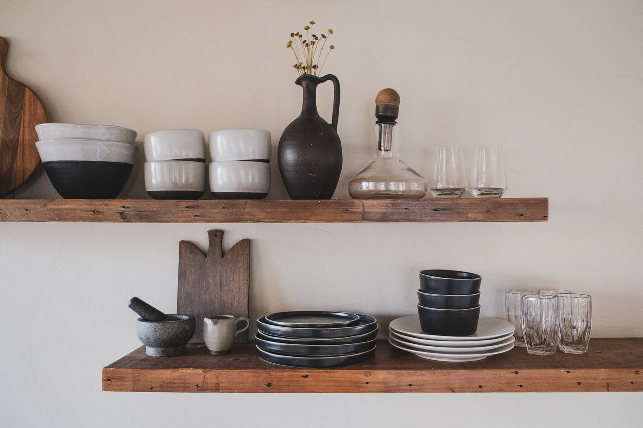 reliable open storage in a kitchen