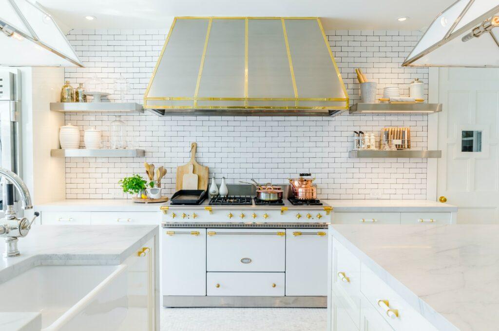 kitchen design with brick wall