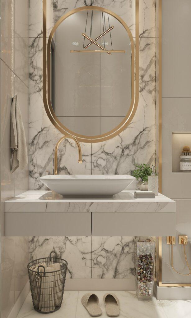 marble bathroom wall